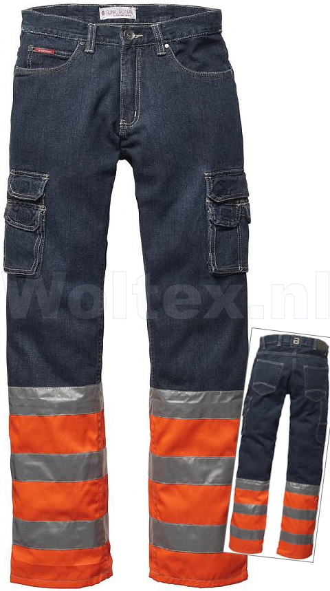 Brams Paris Broeken Finn High Vis donker denim blauw-oranje