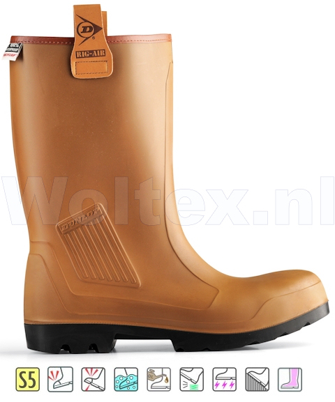 Dunlop Veiligheidslaarzen Purofort Rig-Air Full Safety Ongevoerd bruin