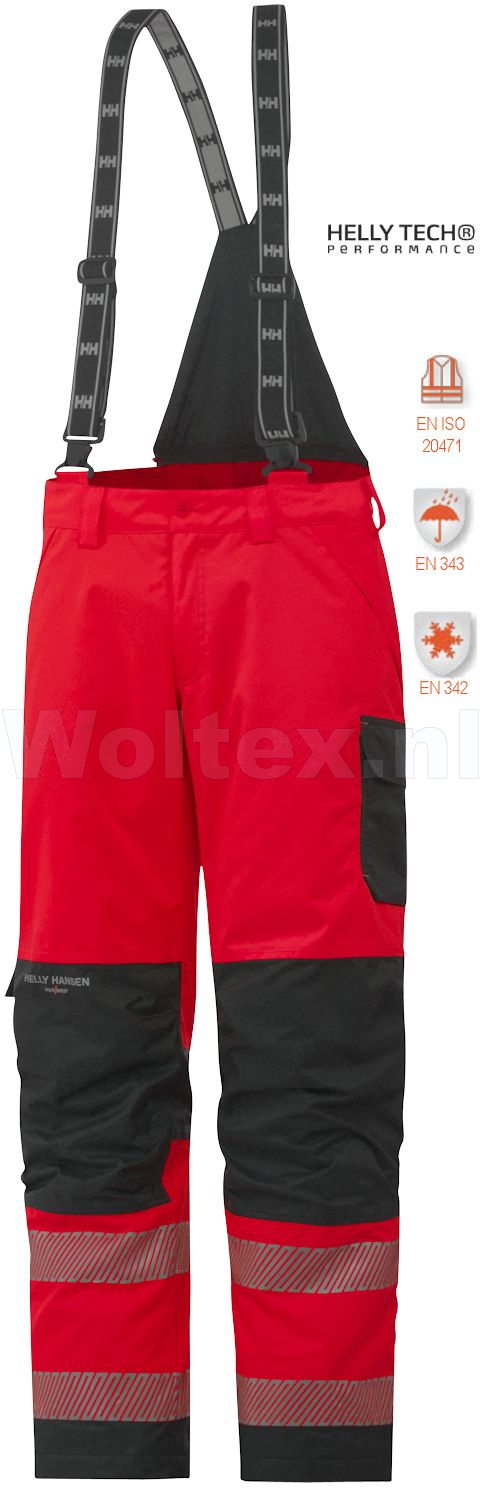 Helly Hansen Winterbroeken York 71466 High Vis fluo rood-antracietgrijs(169)