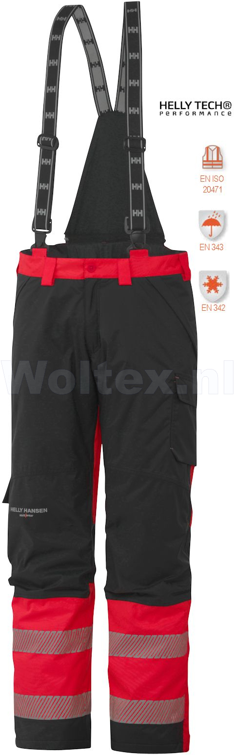 Helly Hansen Winterbroeken York 71467 High Vis fluo rood-antracietgrijs(169)