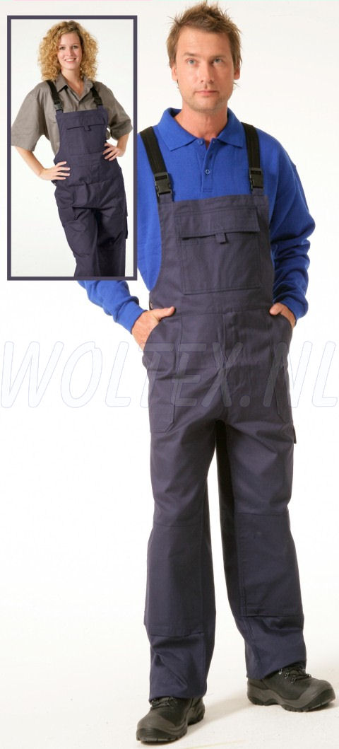 Economy Wear Amerikaanse overalls 3BT-M010002 Kniezakken- verstelbare taille Katoen donkerblauw