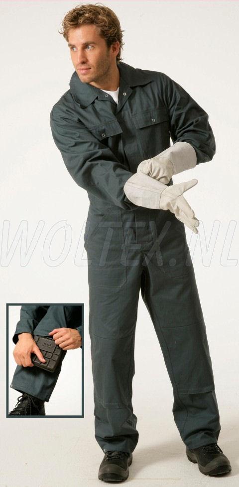 Economy Wear Overalls Basic Drukknopen- kniezakken Katoen groen