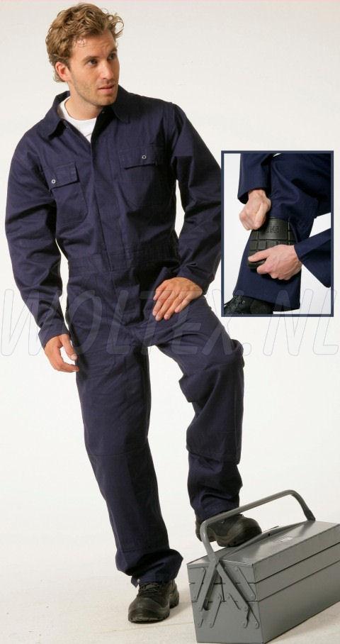 Economy Wear Overalls Basic Drukknopen- kniezakken Katoen donkerblauw