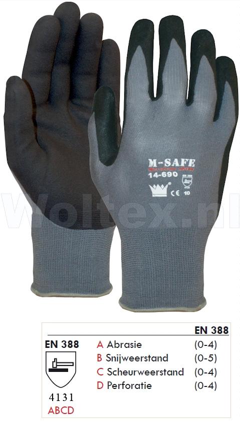 M-Safe Handschoenen 11469000 grijs-zwart