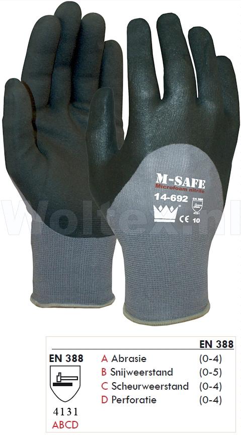 M-Safe Werkhandschoenen 11469200 grijs-zwart