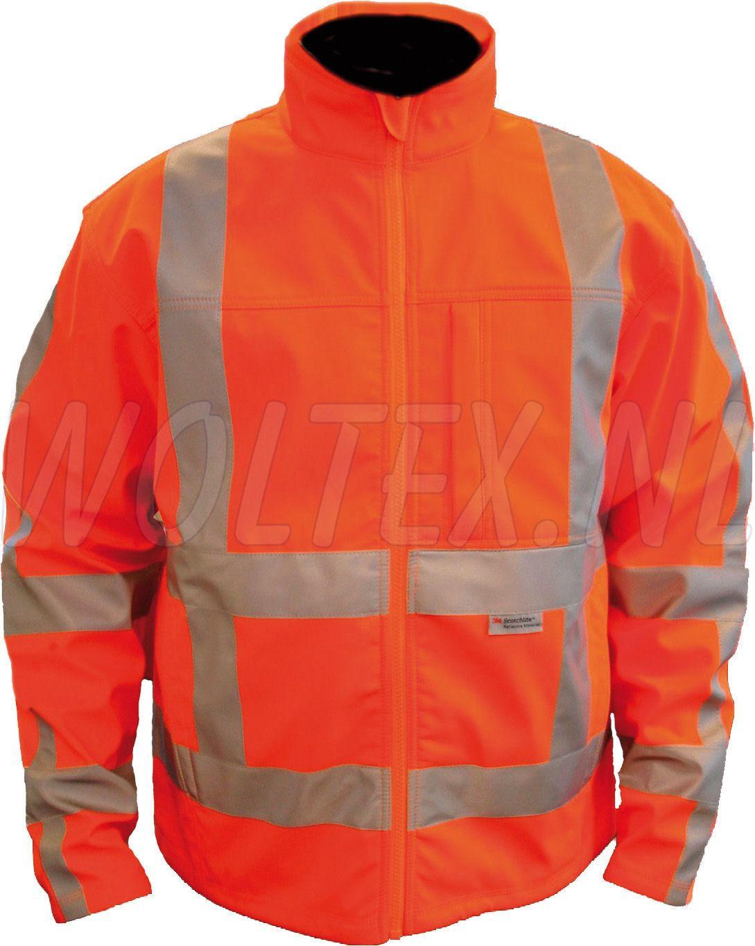 9eb342e799b8da M-Wear Softshell jacks 1316 RWS Reflectie Polarfleece Waterafstotend-  ademend fluo-oranje