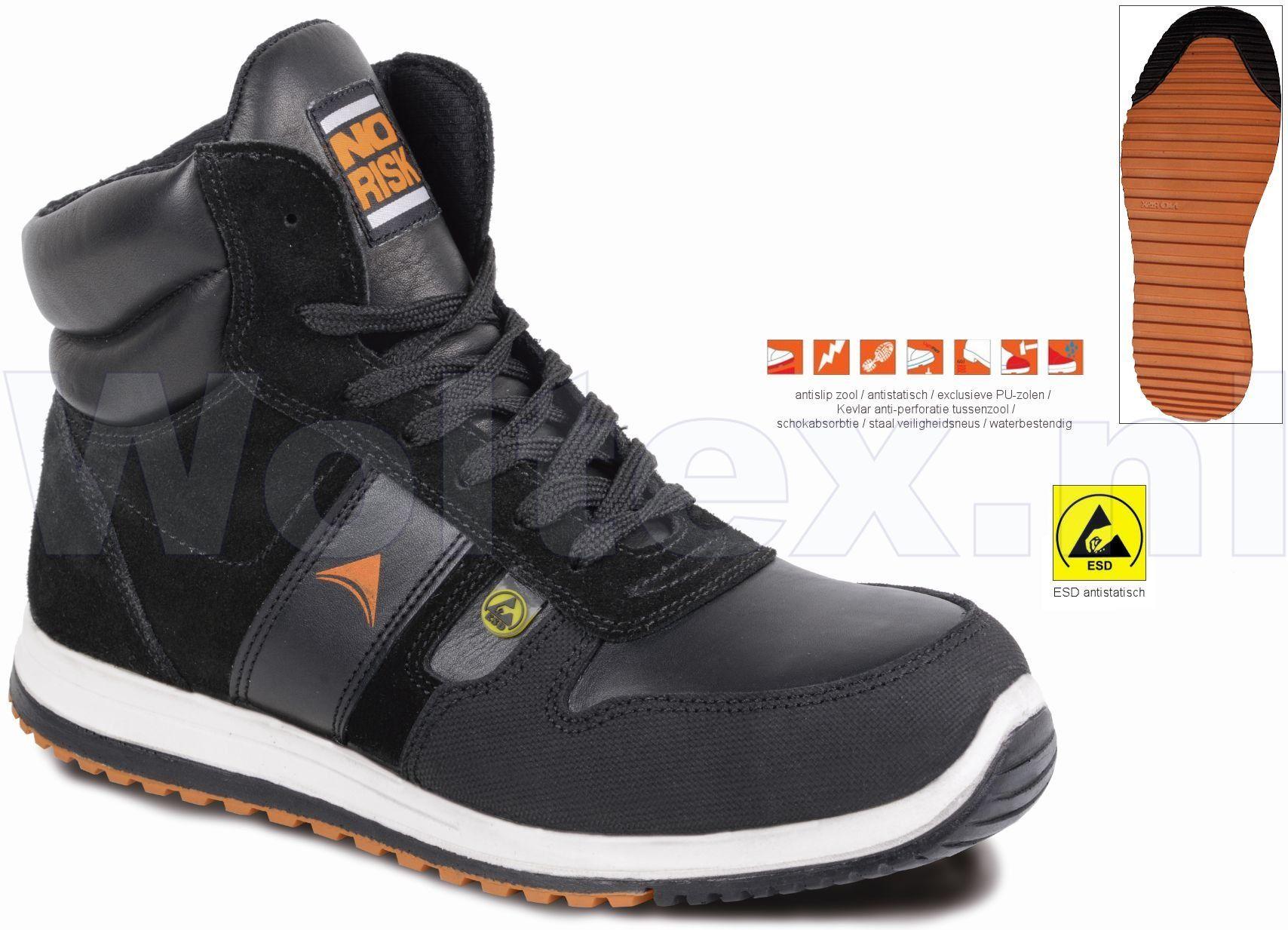 1daf8db6d8b NoRisk S3 Werkschoenen- hoog Jumper Beschermende neus- zool ESD-  antistatisch zwart