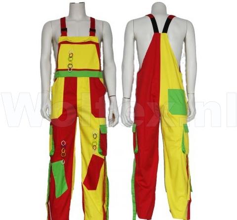 Noname Amerikaanse kinderoveralls TB46535 Franje Polyester- katoen groen-geel-rood