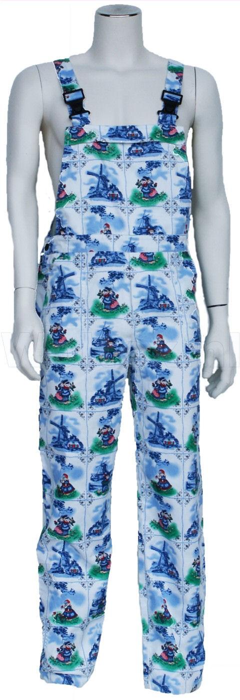 Noname Amerikaanse kinderoveralls TBH6535 Holland print Polyester- katoen blauw-wit-groen