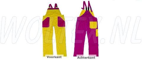 Noname Amerikaanse kinderoveralls TB26535 2-kleurig Polyester- katoen geel-fuchsiaroze