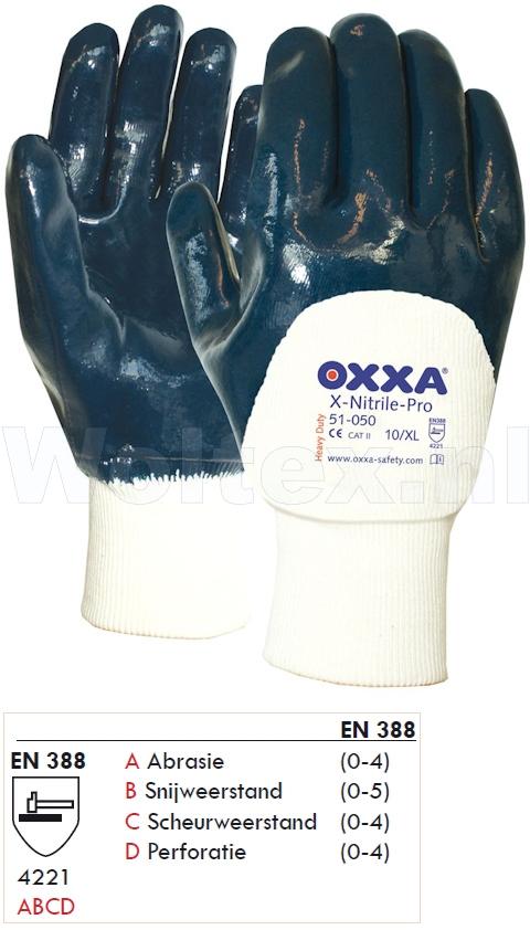 OXXA Werkhandschoenen X-Nitrile-Pro 51-050 donkerblauw-wit