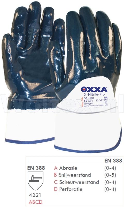 OXXA Werkhandschoenen X-Nitrile-Pro 51-080 donkerblauw-wit