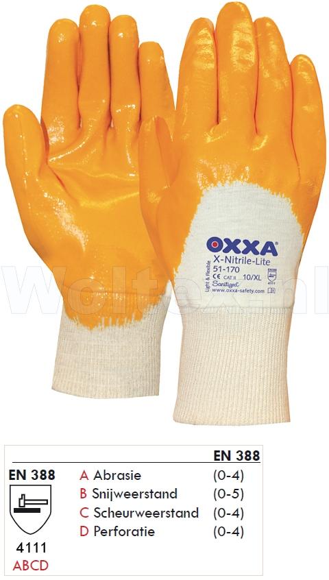 OXXA Werkhandschoenen X-Nitrile-Lite 51-170 geel-wit