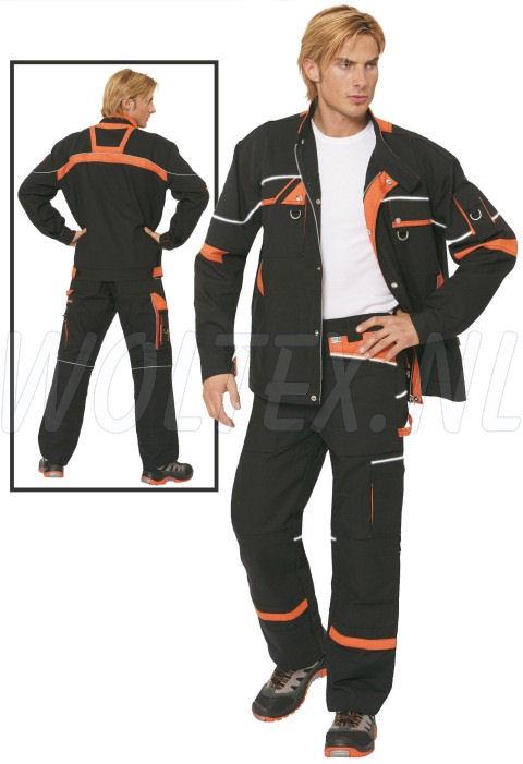 PKA Werkbroeken Threeline De Luxe zwart/oranje