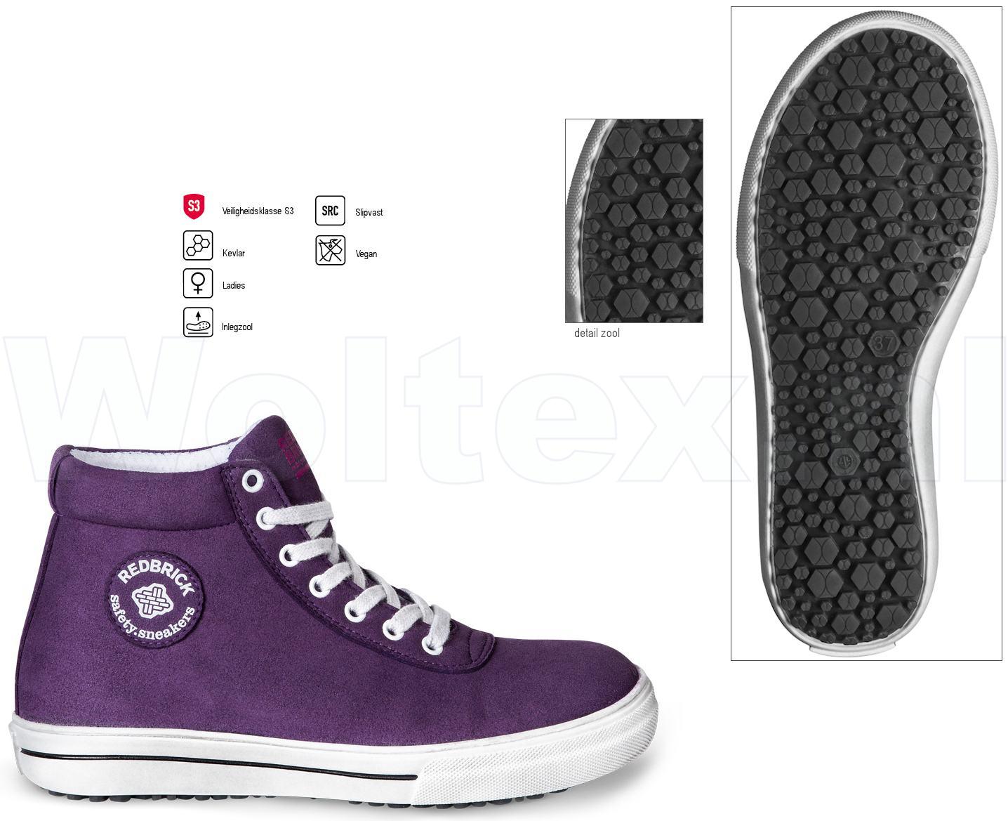 Redbrick Dames Werkschoenen.Redbrick Ladies Line Veiligheidsschoenen Louise Paars 36
