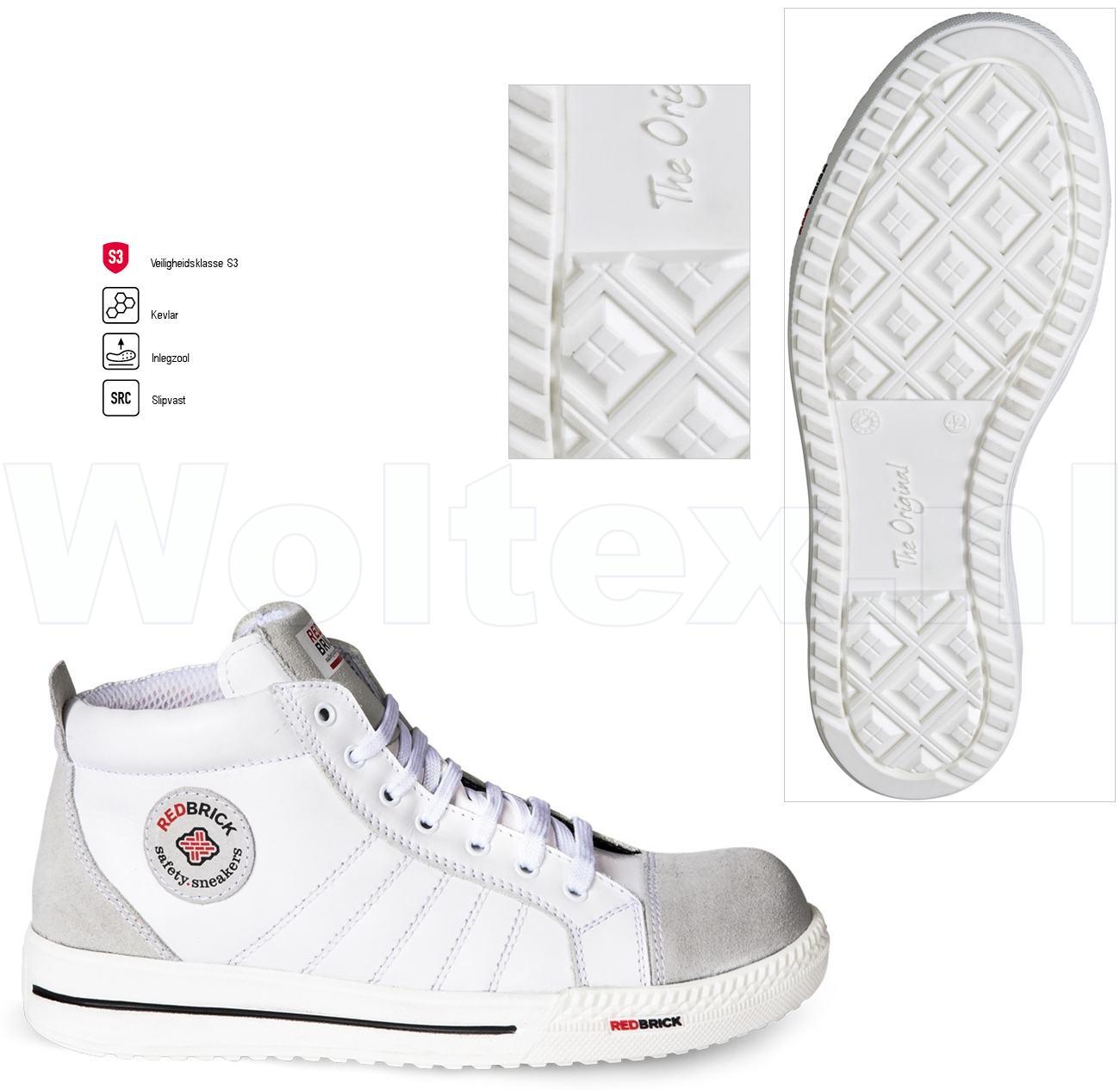 Werkschoenen Met Witte Zool.Redbrick Safety Sneakers Originals S3 Werkschoenen Mont Blanc Wit 42