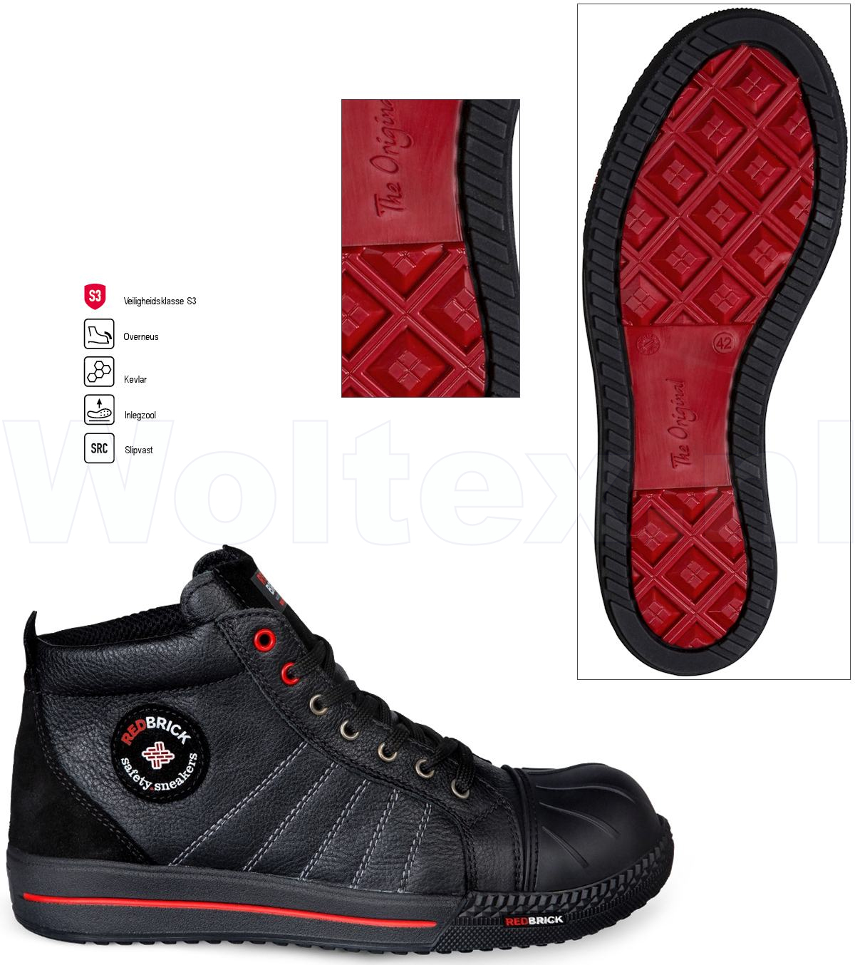Safety Werkschoenen.Redbrick Safety Sneakers Originals S3 Werkschoenen Onyx Overneus