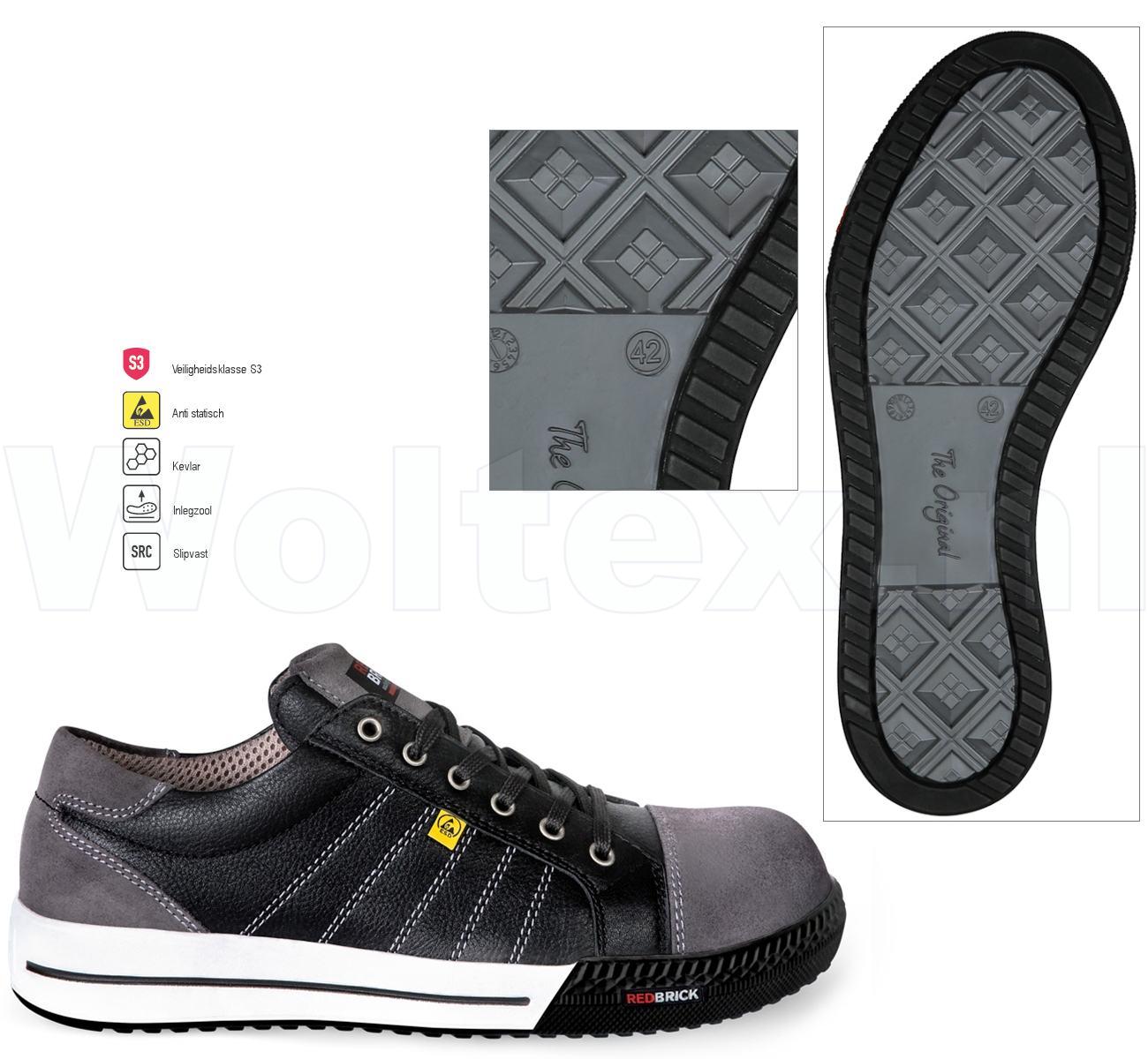 Werkschoenen Sneakers S3.Redbrick Safety Sneakers Originals S3 Esd Werkschoenen Slate Zwart