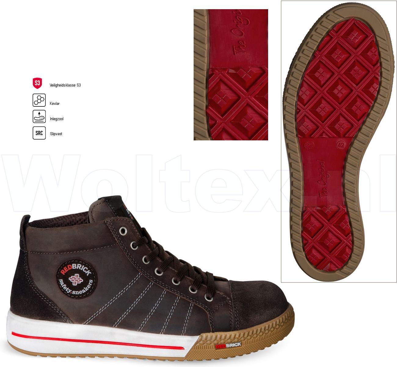 Redbrick Werkschoenen.Redbrick Safety Sneakers Originals S3 Werkschoenen Smaragd Bruin 42