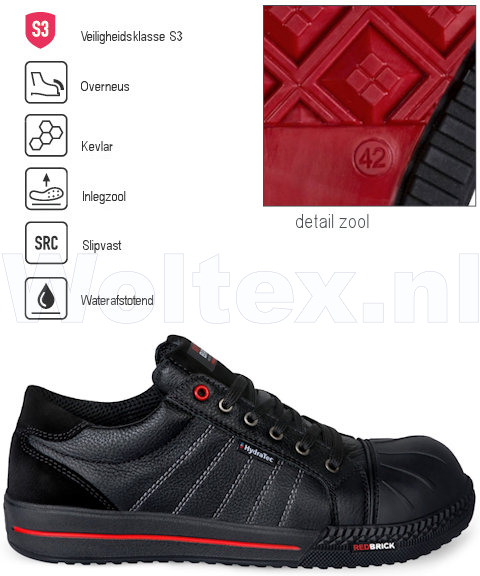 Redbrick Safety Sneakers Originals S3 Werkschoenen Ruby Hydratec Waterafstotend Overneus zwart