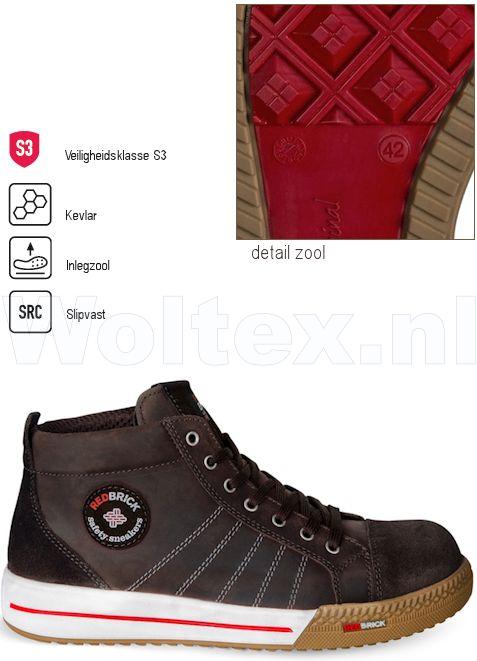 Werkschoenen 36.Redbrick Safety Sneakers Originals S3 Werkschoenen Smaragd Bruin 36