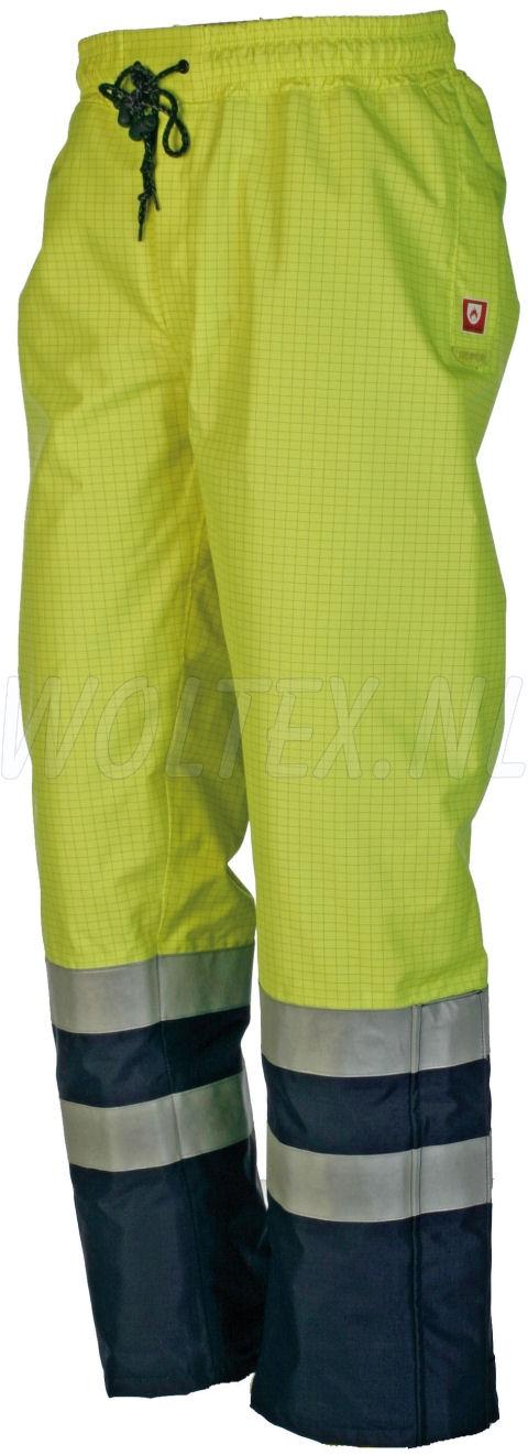 Sioen Regenbroeken Gladstone Polyester- PU fluo geel-donkerblauw
