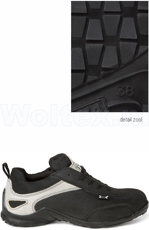 To Work For Dames S3 Werkschoenen- laag Anna Beschermende neus- zool Lichtgewicht zwart-zilver