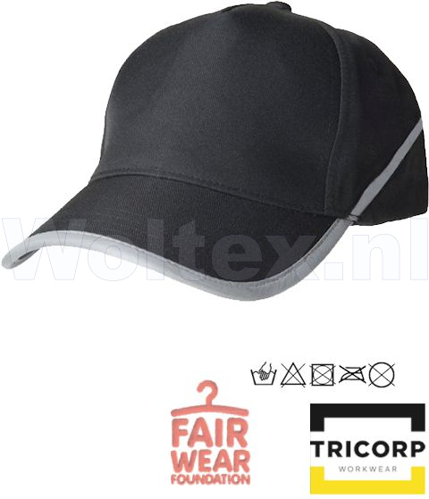 Tricorp Workwear Caps 653002-TCP2000 zwart(Black)