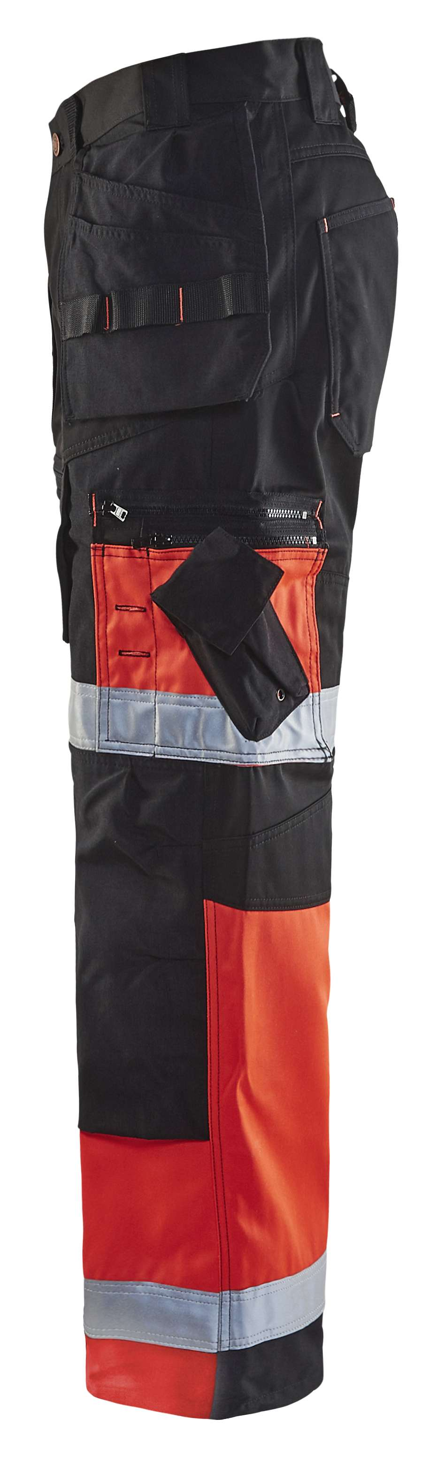 Blaklader Werkbroeken 15081860 High Vis zwart-fluo rood(9955)