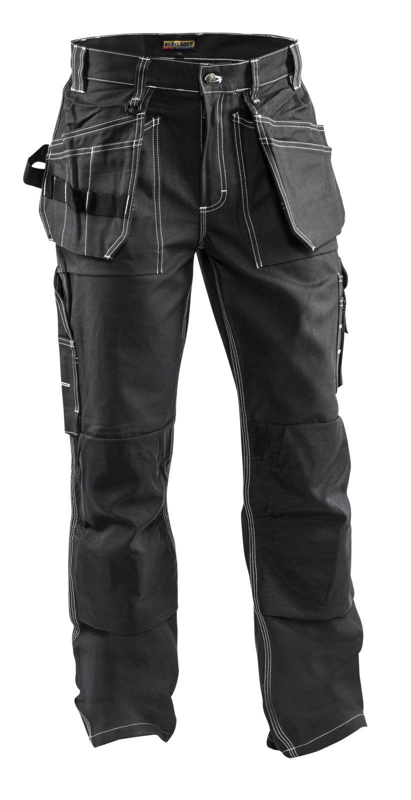 Blaklader Ambacht Werkbroeken- kniezakken- spijkerzakken 15301370 Katoen- Cordura zwart-contraststiksel(9900)