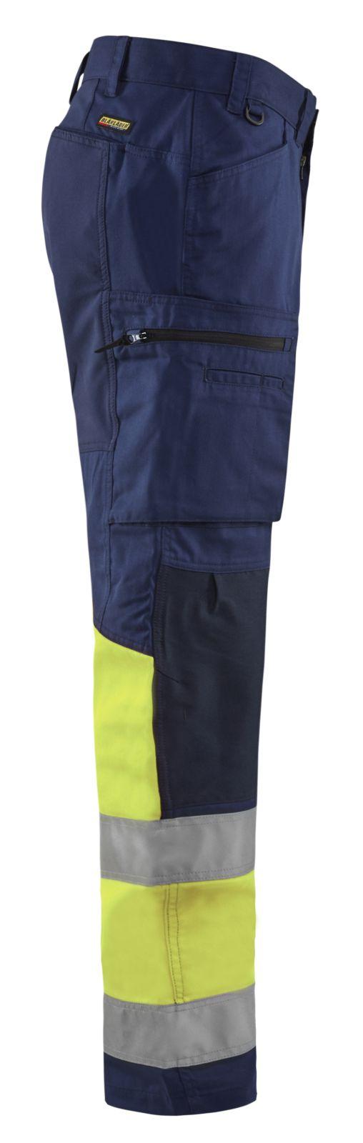 Blaklader Softshell werkbroeken 15511811 High Vis marineblauw-geel(8933)