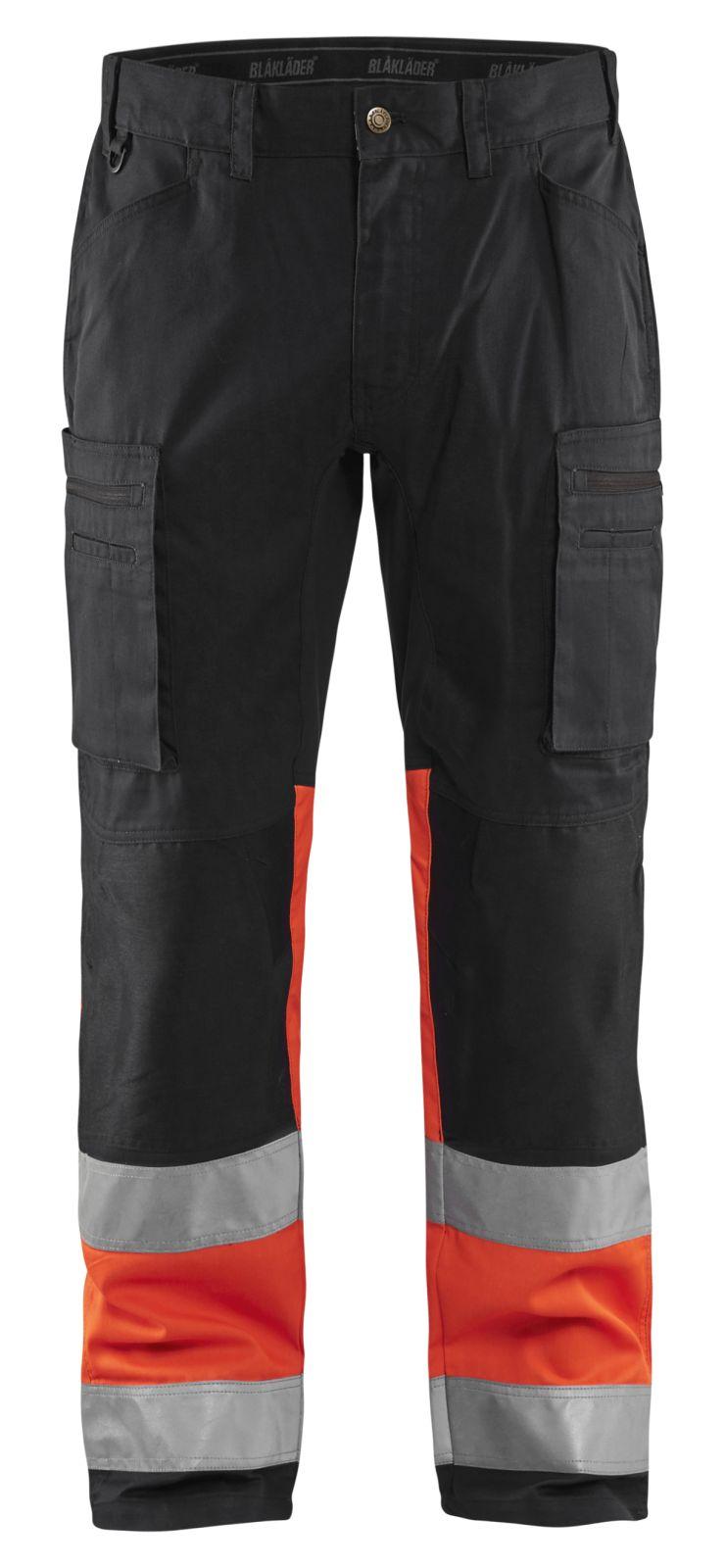 Blaklader Softshell werkbroeken 15511811 High Vis zwart-fluo rood(9955)
