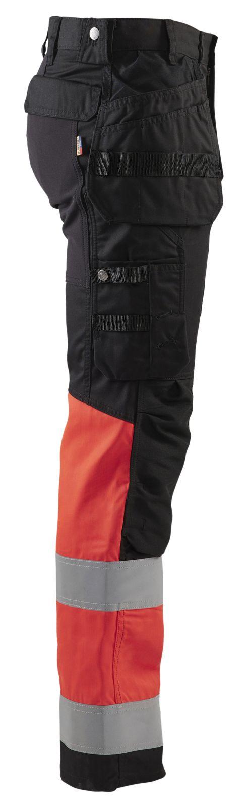 Blaklader Werkbroeken 15581811 High Vis zwart-fluo rood(9955)