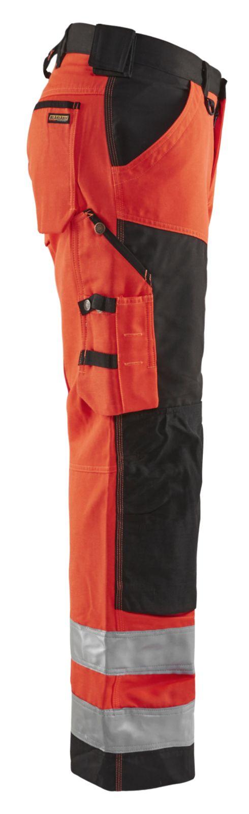Blaklader Werkbroeken 15661811 High Vis fluor rood-zwart(5599)