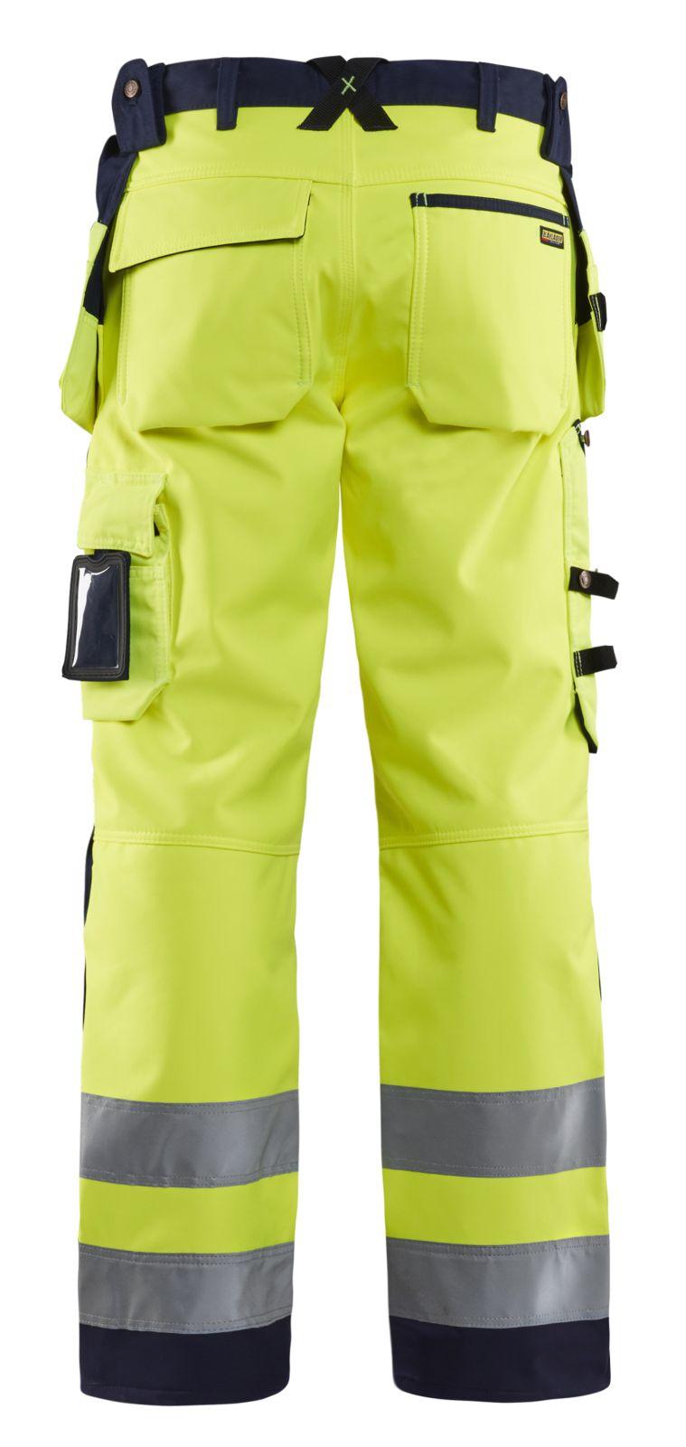 Blaklader Softshell werkbroeken 15672517 High Vis geel-marineblauw(3389)