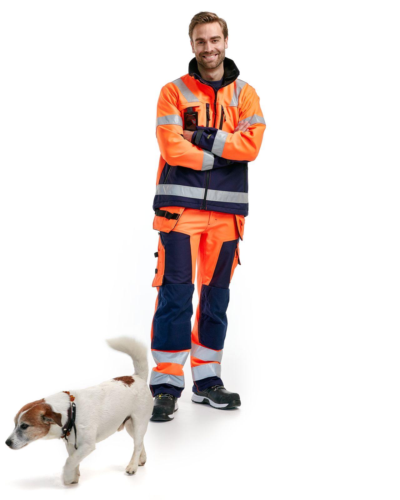 Blaklader Softshell werkbroeken 15672517 High Vis oranje-marineblauw(5389)