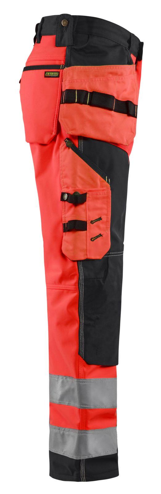 Blaklader Softshell werkbroeken 15672517 High Vis fluor rood-zwart(5599)
