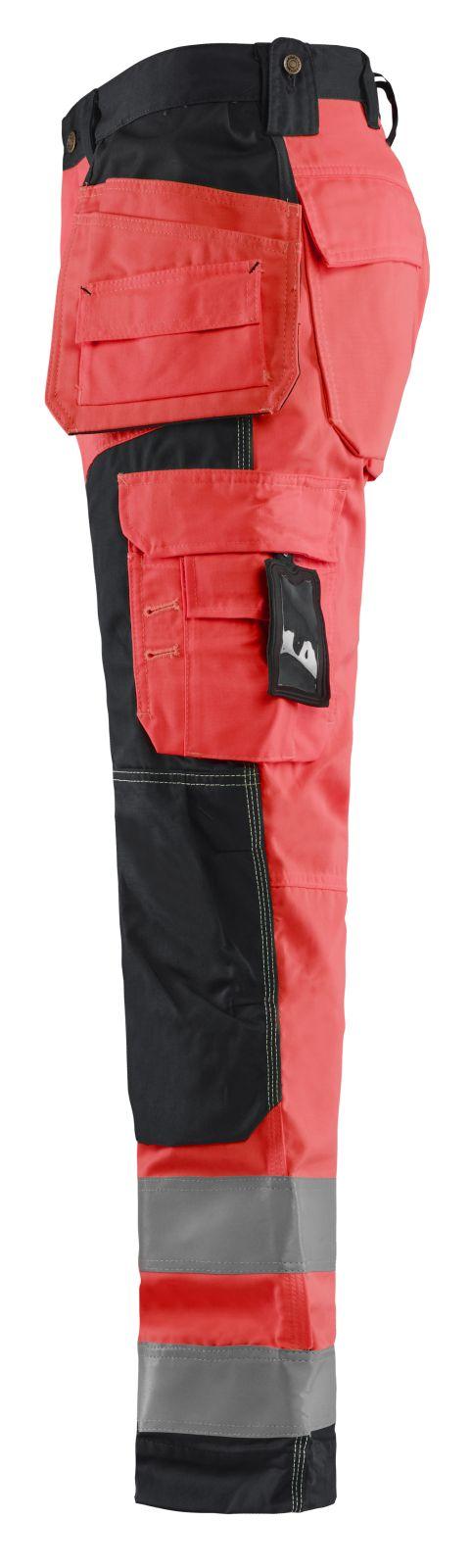 Blaklader Werkbroeken 15681811 High Vis fluor rood-zwart(5599)