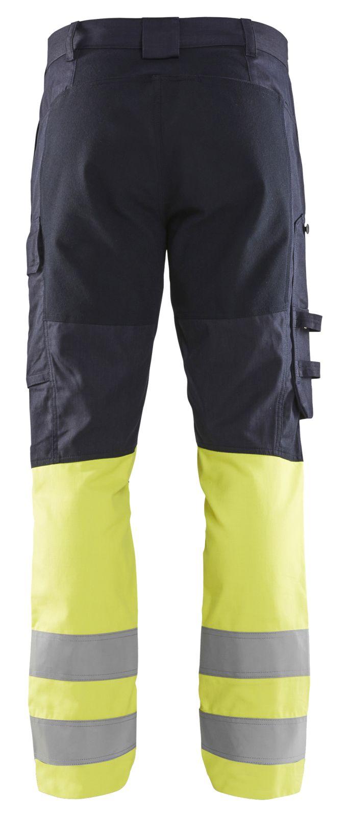 Blaklader Broeken 17871512 marineblauw-fluo geel(8933)