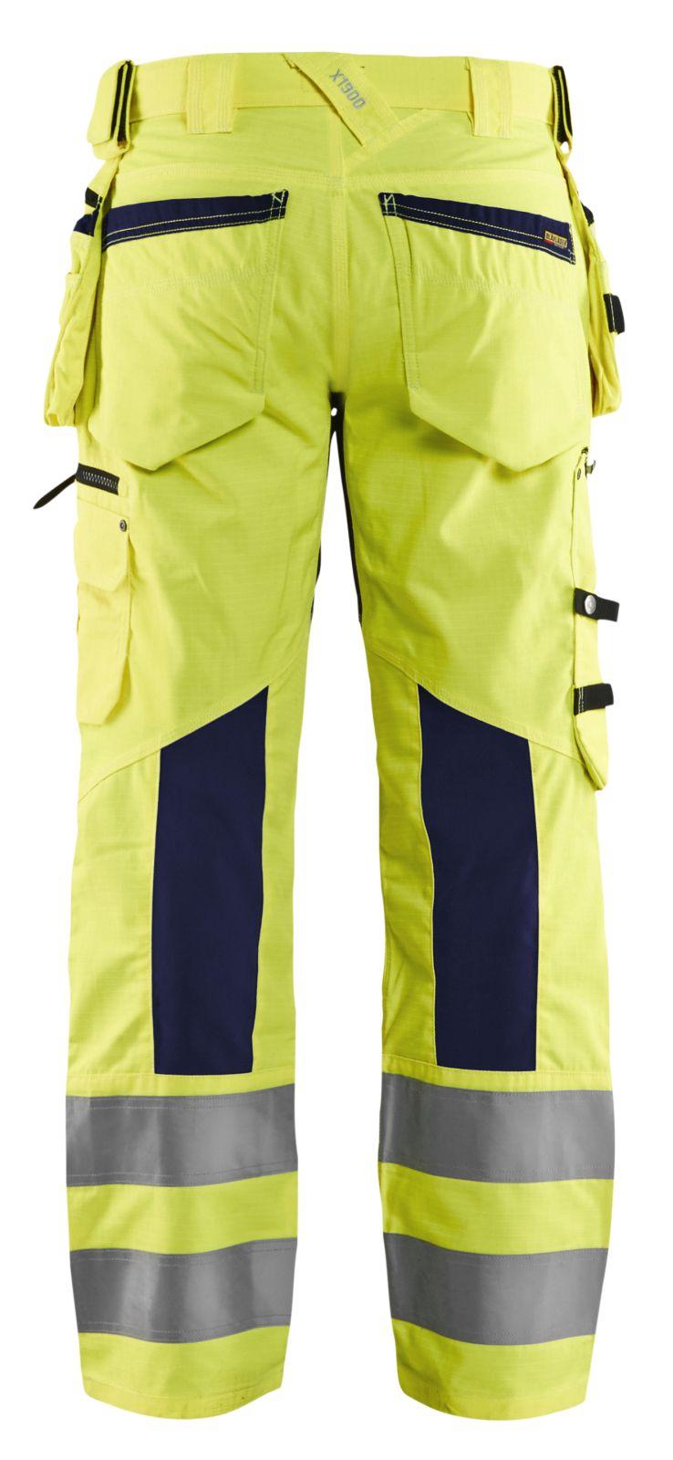 Blaklader Softshell werkbroeken 19951831 High Vis geel-marineblauw(3389)