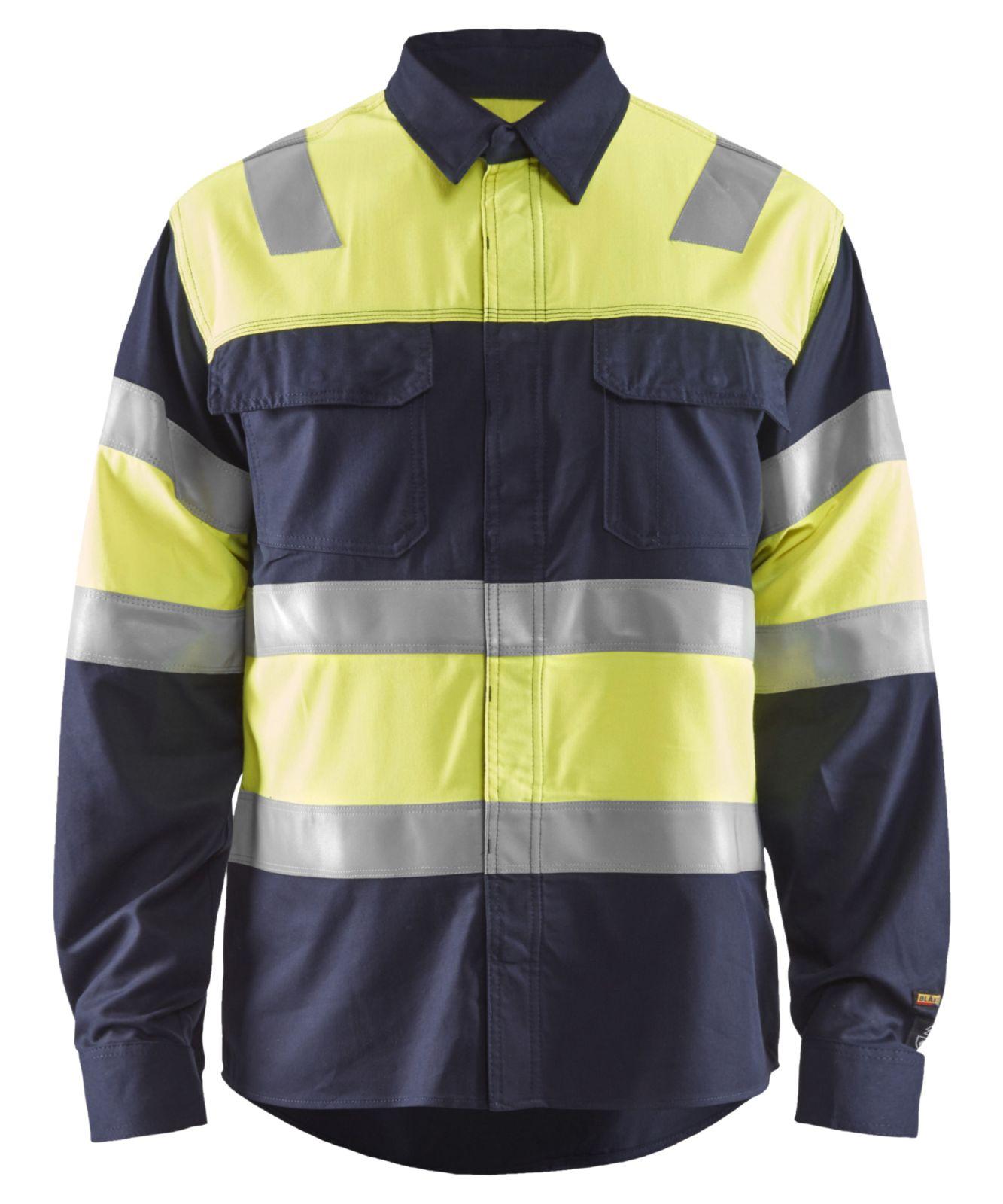 Blaklader Overhemden 32281515 Multinorm marineblauw-geel(8933)
