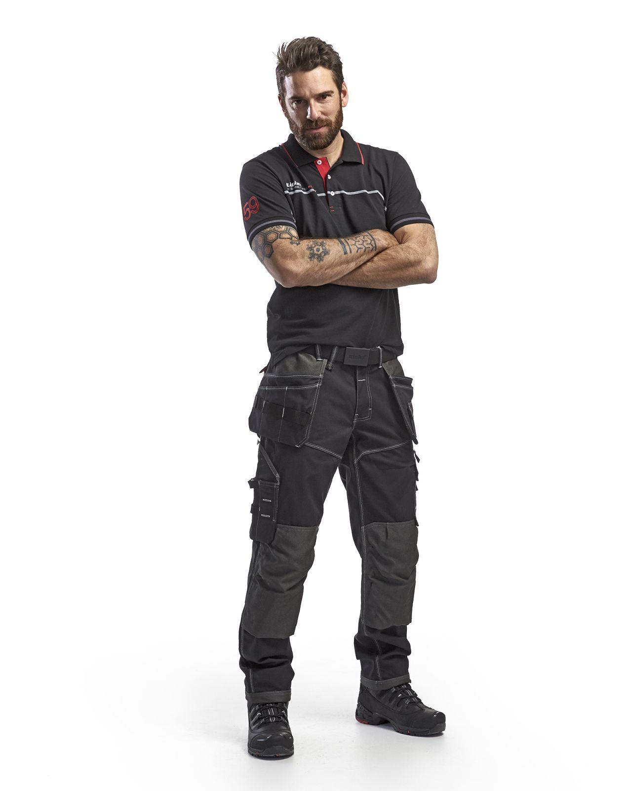 Blaklader Polo shirts 33271050 zwart-rood(9956)