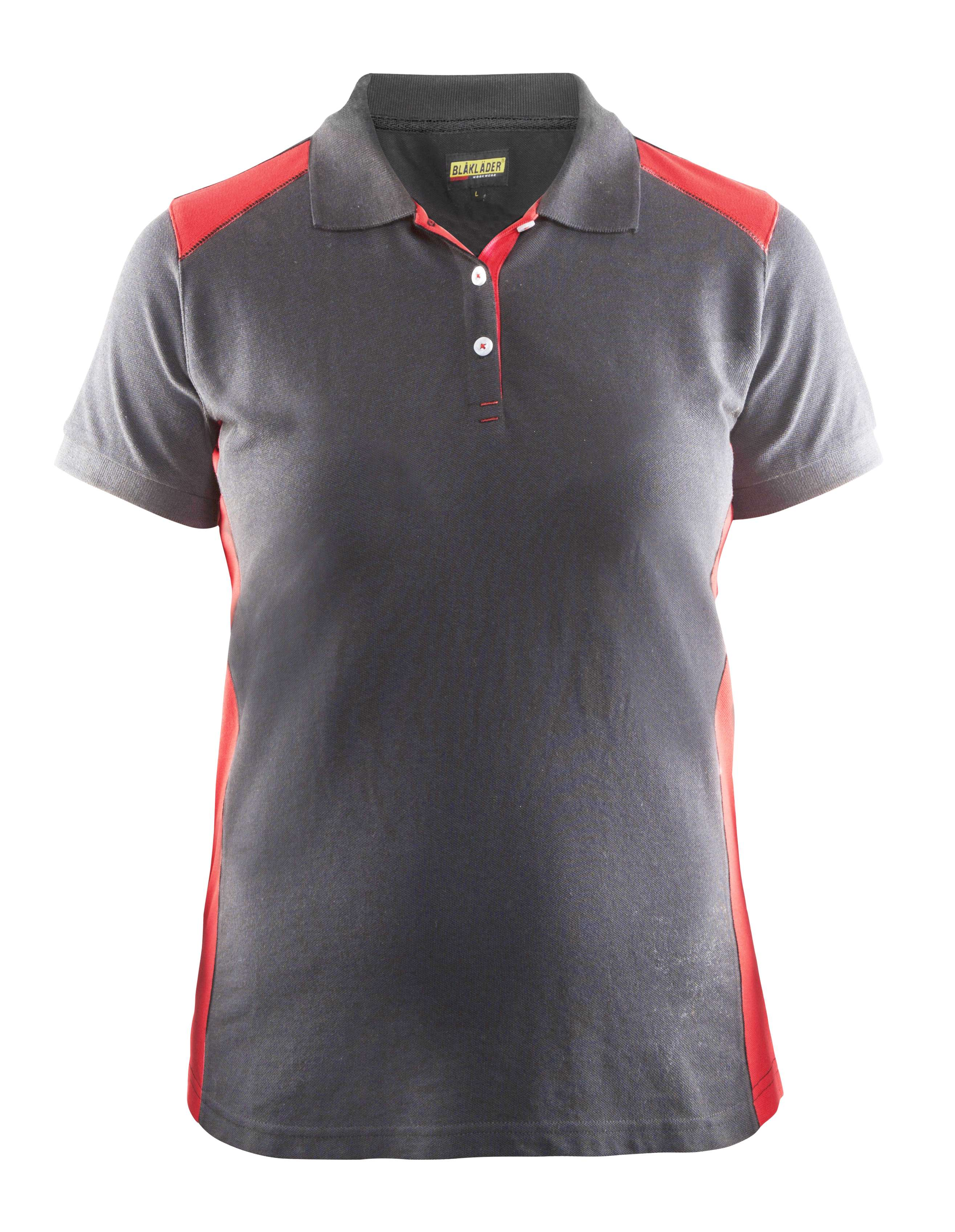 Blaklader Dames polo shirts 33901050 grijs-rood(9456)