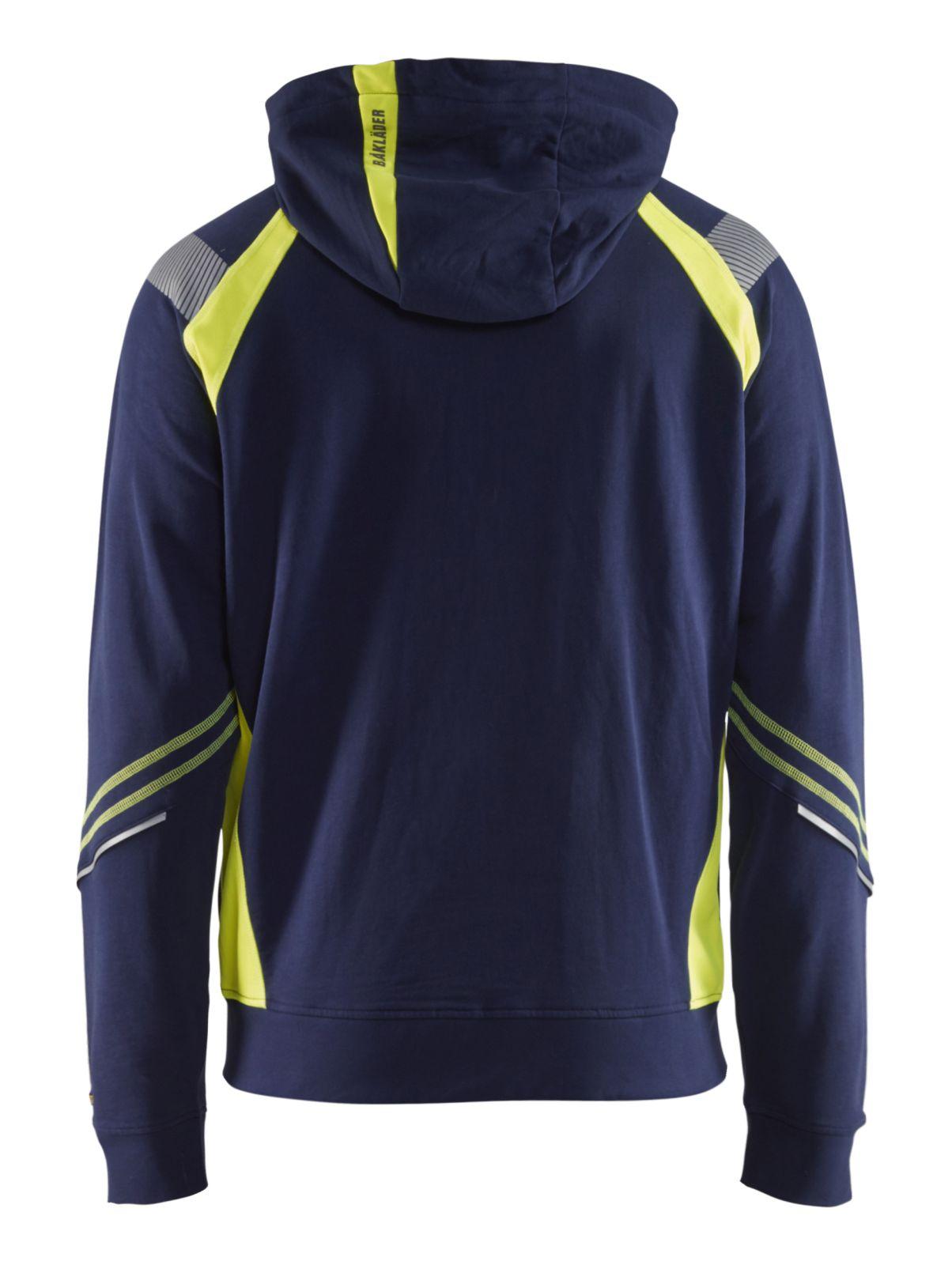 Blaklader Hooded sweatvesten 34331158 marineblauw-geel(8933)