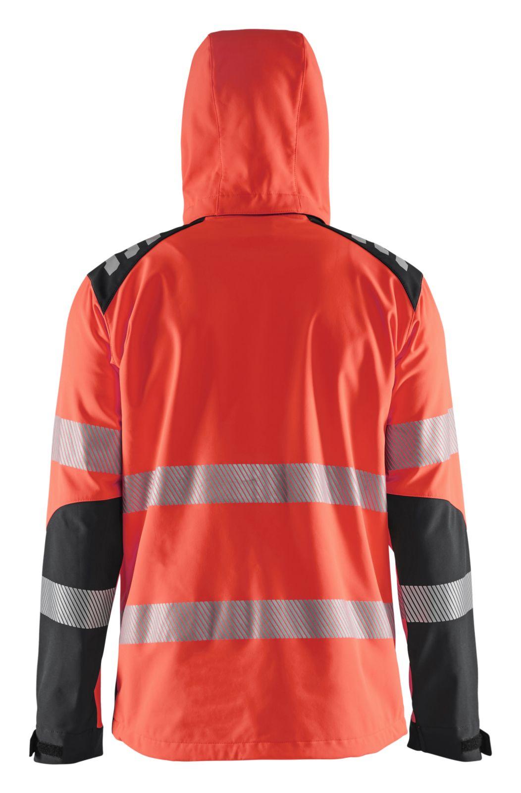 Blaklader Softshell jacks 44912513 High Vis Waterdicht fluo rood-zwart(5599)