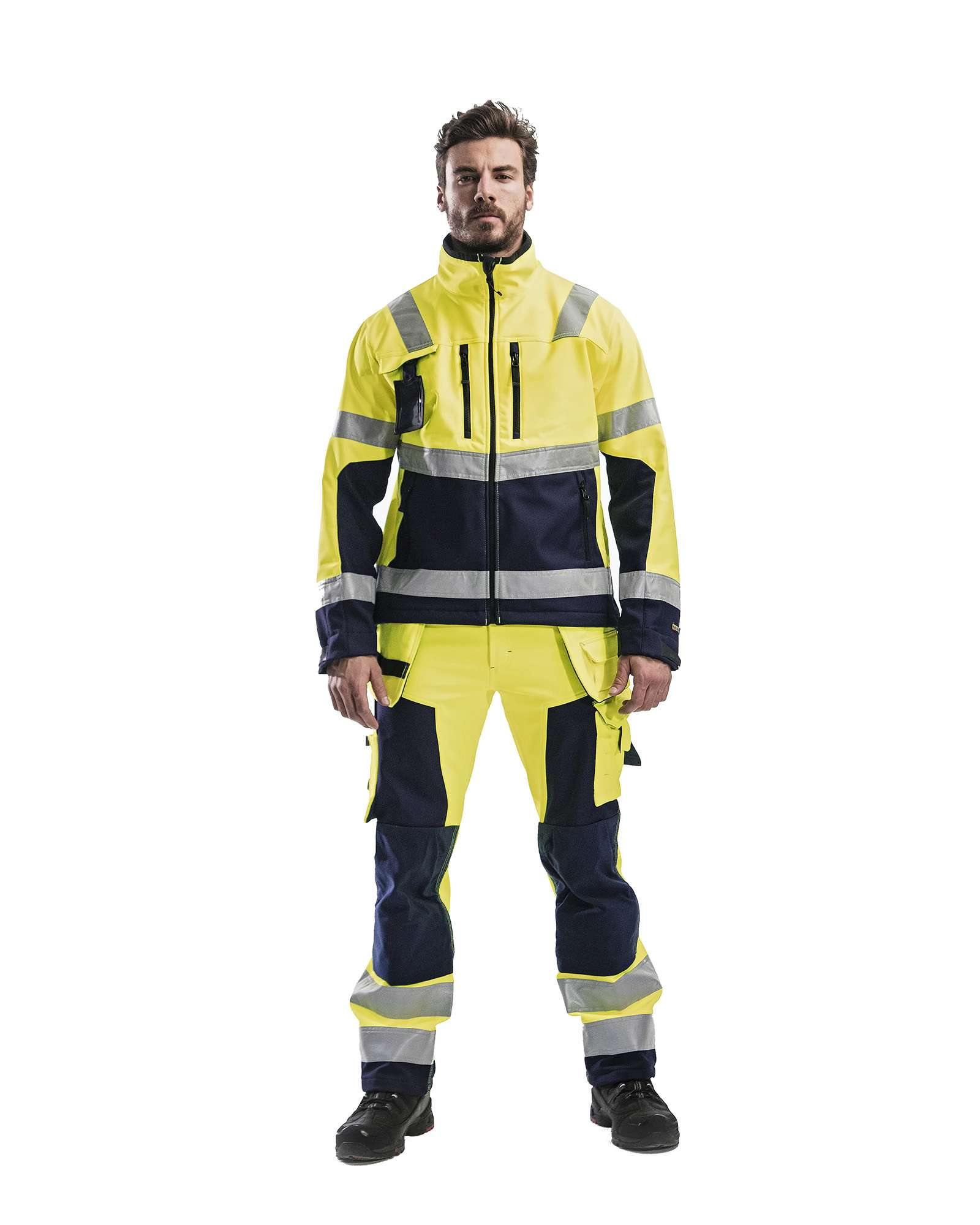 Blaklader Softshell jacks 49002517 High Vis geel-marineblauw(3389)