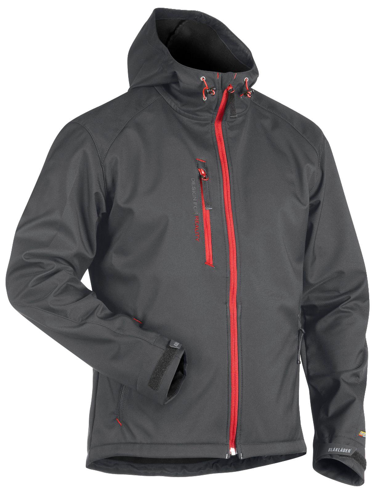 Blaklader Softshell jacks 49492517 donkergrijs-rood(9756)