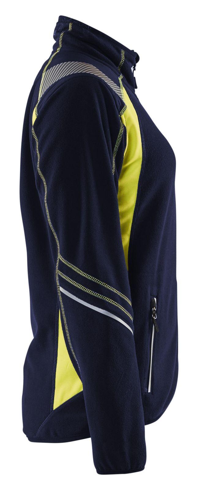 Blaklader Dames fleece vesten 49731010 Reflectieband marineblauw-fluo geel(8933)