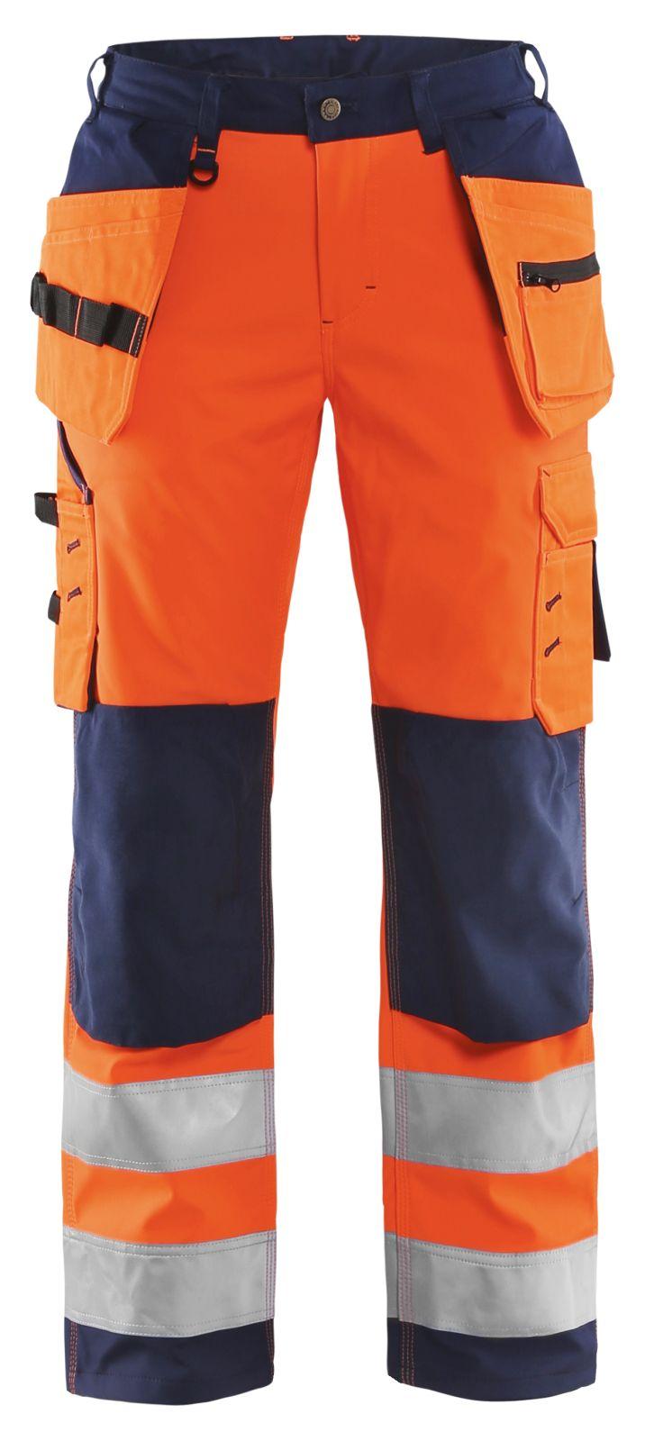 Blaklader Dames softshell werkbroeken 71672517 High Vis oranje-marineblauw(5389)