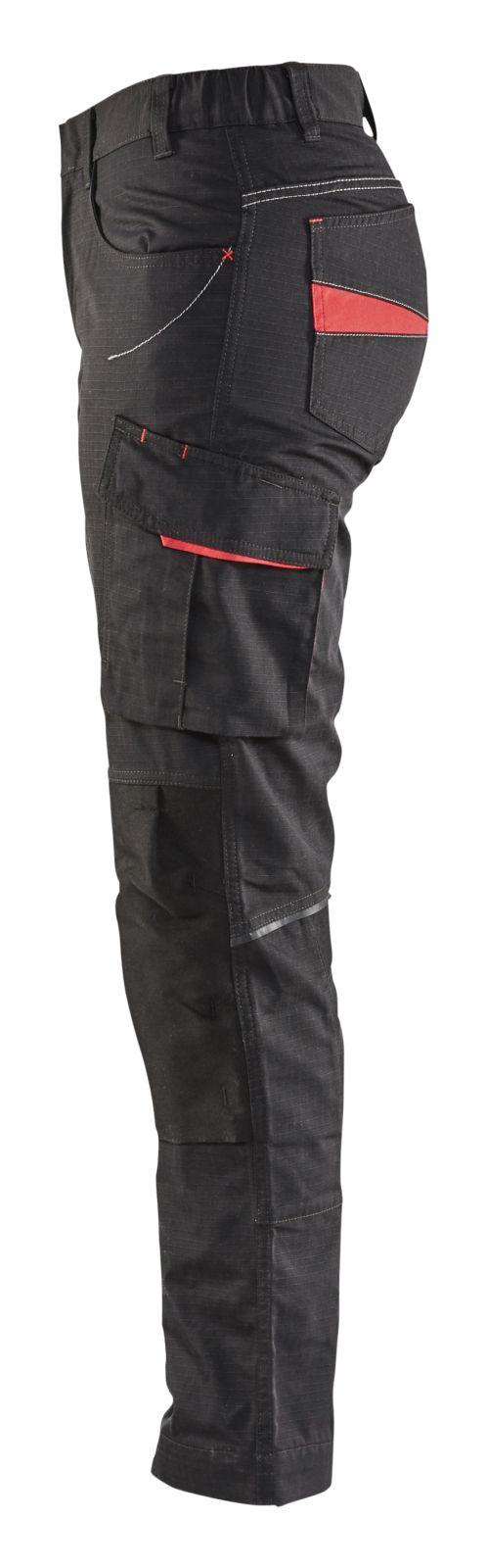 Blaklader Dames werkbroeken 71951330 zwart-rood(9956)